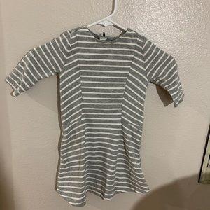 Gray and White Striped Skater Dress